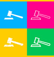 justice hammer sign four styles of icon on four vector image