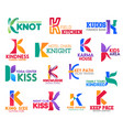 k letter corporate identity business icons vector image vector image