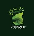 logo green deer gradient colorful style vector image