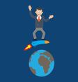 man on a rocket around the Earth vector image vector image