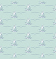 marine blue boats line style seamless pattern vector image