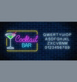 neon cocktail bar and cafe glowing sign with vector image vector image