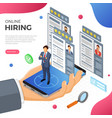 online isometric employment and hiring concept vector image vector image