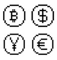 pixel bw icons set vector image