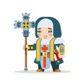 priest female warrior fantasy medieval action rpg vector image vector image