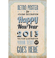 Retro Vintage Happy New Year Background vector image vector image