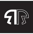 rr letter logo monogram with oval shape negative vector image vector image