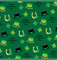 saint patricks day hats and horseshoe pattern vector image