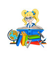 school girl reading a book vector image vector image