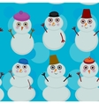 Seamless pattern cute cartoon snowmen on blue vector image