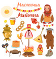 set elements russian carnival isolated vector image vector image