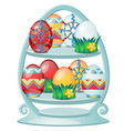 set of colorful easter eggs with patterns on a vector image vector image