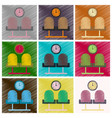 set of flat icons in shading style airport waiting vector image vector image