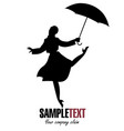silhouette of girl in raincoat and umbrella vector image