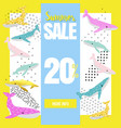 summer sale banner with cute whales promotional vector image vector image