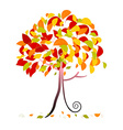 Tree - Abstract Autumn Tree with Falling Lea vector image vector image