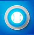 white baseball ball icon on blue background vector image
