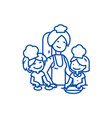 woman cooking with kids line icon concept woman vector image