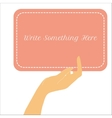 female hand holding vertical paper card vector image