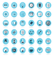 Set of flat design icons blue color styles vector image