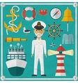 Captain Captain and Nautical flat icons vector image