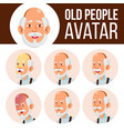 asian old man avatar set face emotions vector image vector image