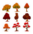 autumn tree cartoon style stylized trees vector image vector image