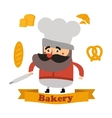 Baker and cake in format vector image vector image