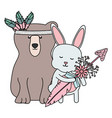 bear grizzly and rabbit with feathers hat and vector image vector image