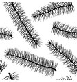 black and white fir branch seamless pattern vector image vector image