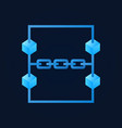blue blockchain modern icon on dark vector image