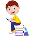 Boy cartoon reading book vector image vector image
