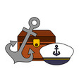 chest anchor and hat nautical image vector image
