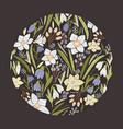 circular floral backdrop or round decorative vector image