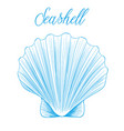 clam bivalve sea shell hand drawn blue linear vector image