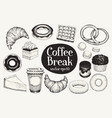 coffee break dessert set hand drawn vector image