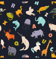 colorful seamless pattern with cute funny animals vector image vector image