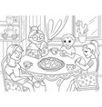 coloring book grandmother is sitting at the table vector image vector image