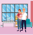 couple with child vector image