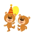 Cute teddy bear characters in birthday cap and vector image vector image