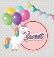 cute unicorn with balloons air kawaii character vector image