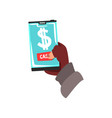 cyber thief hacker stealing money with smartphone vector image
