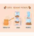 different coffee brewing methods turkish syphon vector image vector image