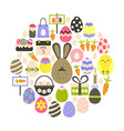 Easter holiday Flat Icons Set over white vector image vector image