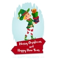 elf Santa s assistant with gifts isolated on a vector image vector image