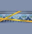 empty no pessenger train interior with yellow vector image