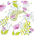 exotic flowers with tropical branches leaves vector image vector image