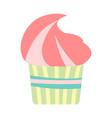 flat color cupcake icon vector image vector image