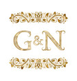 g and n vintage initials logo symbol vector image