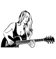 girl rock guitarist vector image